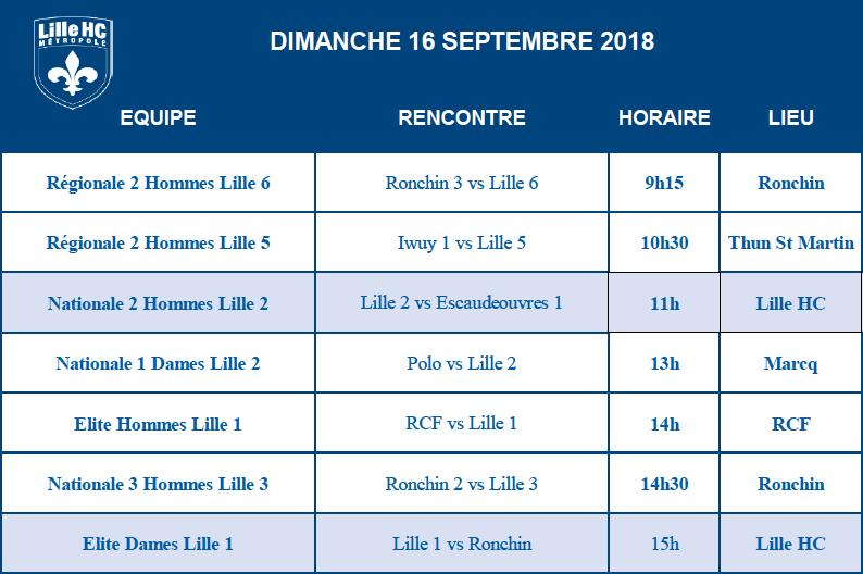 LilHoc Programme des matchs du 16 Septembre