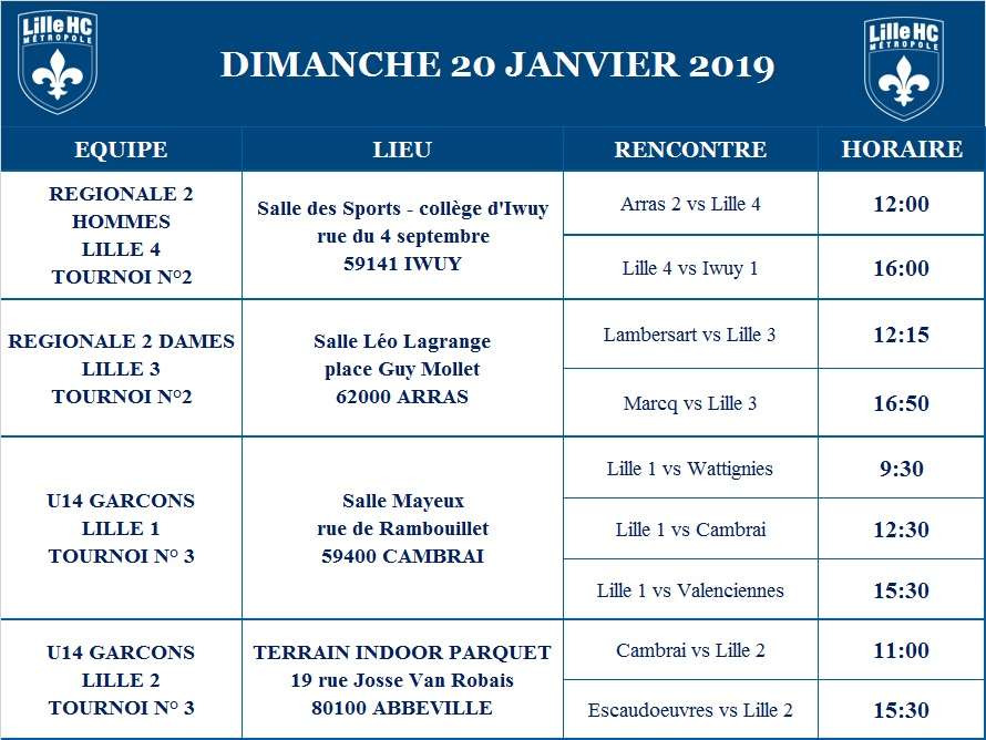 programme des matchs en salle weekend du 19 et 20 janvier 2019 lille m tropole hockey club. Black Bedroom Furniture Sets. Home Design Ideas