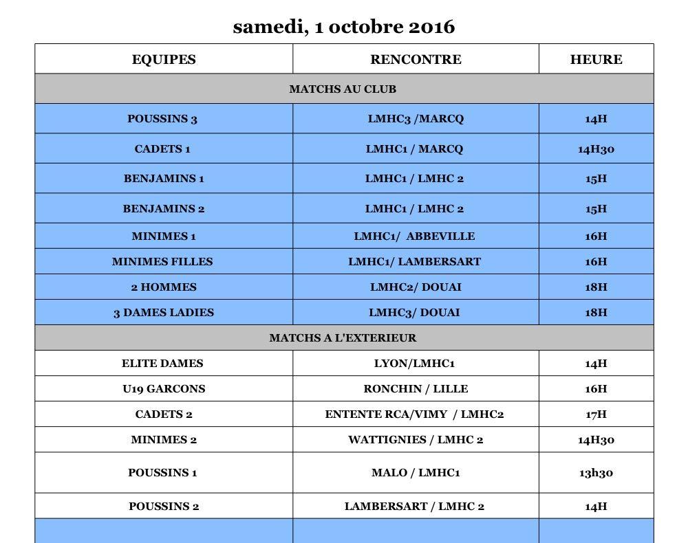 Programme Matchs - Lilhoc - Samedi 2 octobre
