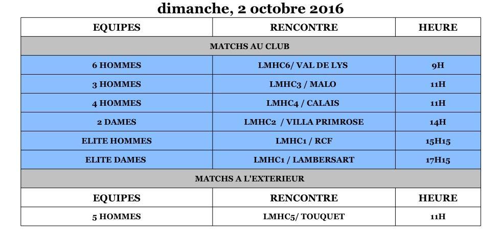 Programme Matchs - Lilhoc - Dimanche 2 octobre
